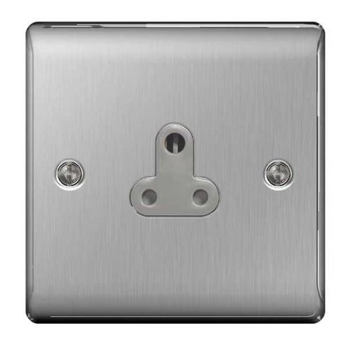 1 Gang 5a Socket Outlet Brushed Steel
