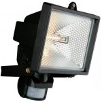 Spectra PIR floodlight black c/w lamp 2 yr g'tee